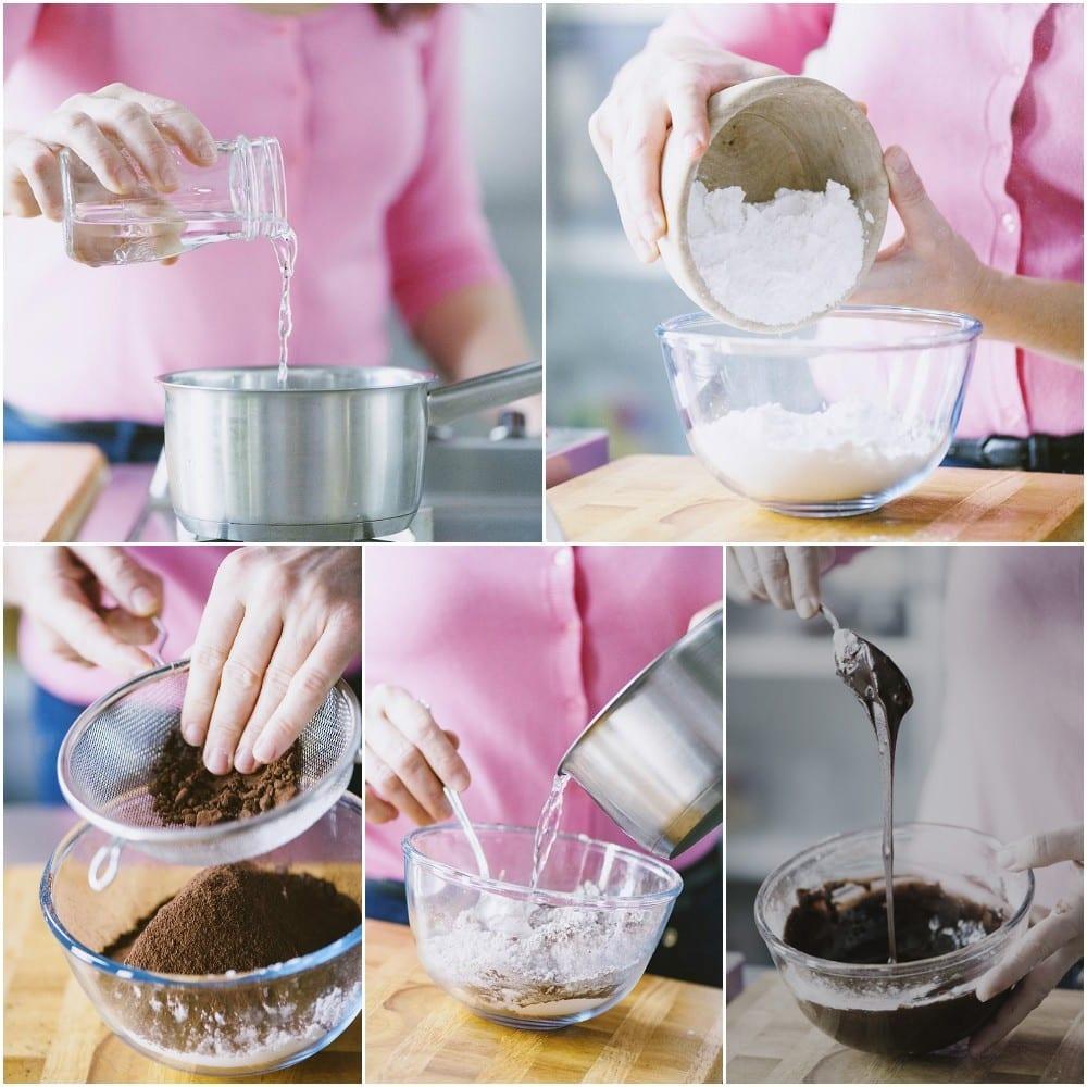glassa acqua cacao