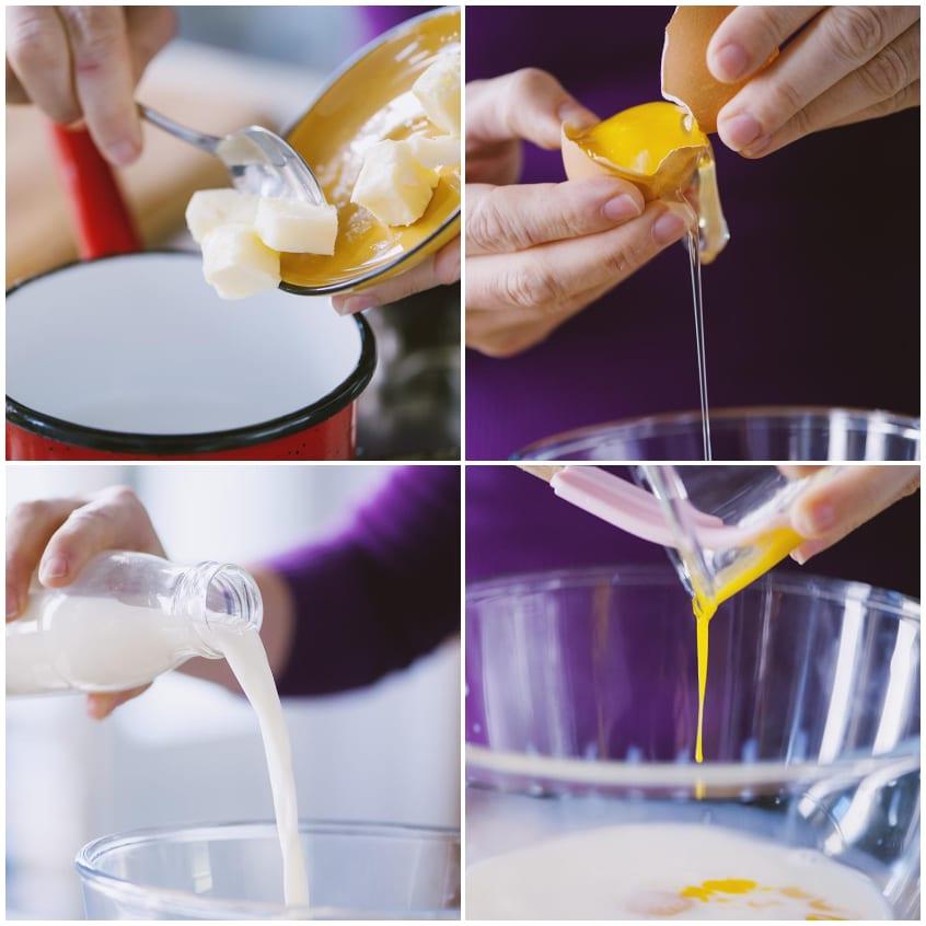 Farina, latte, uova, burro, lievito, zucchero, sale sono gli ingredienti dei pancake