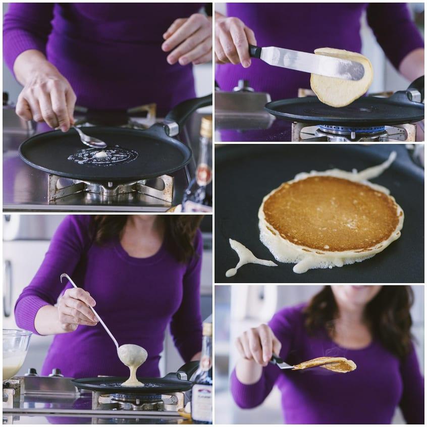 Per cuocere il pancake metti un pezzetto di burro al centro della padella e versaci sopra l'impasto fino a creare un cerchio di 8-10cm