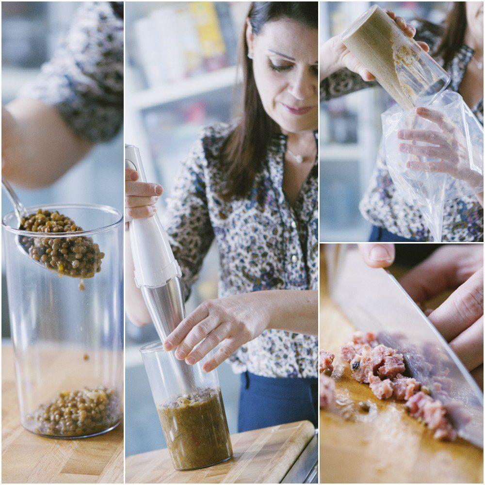 Cestino di pastasfoglia con cotechino e lenticchie