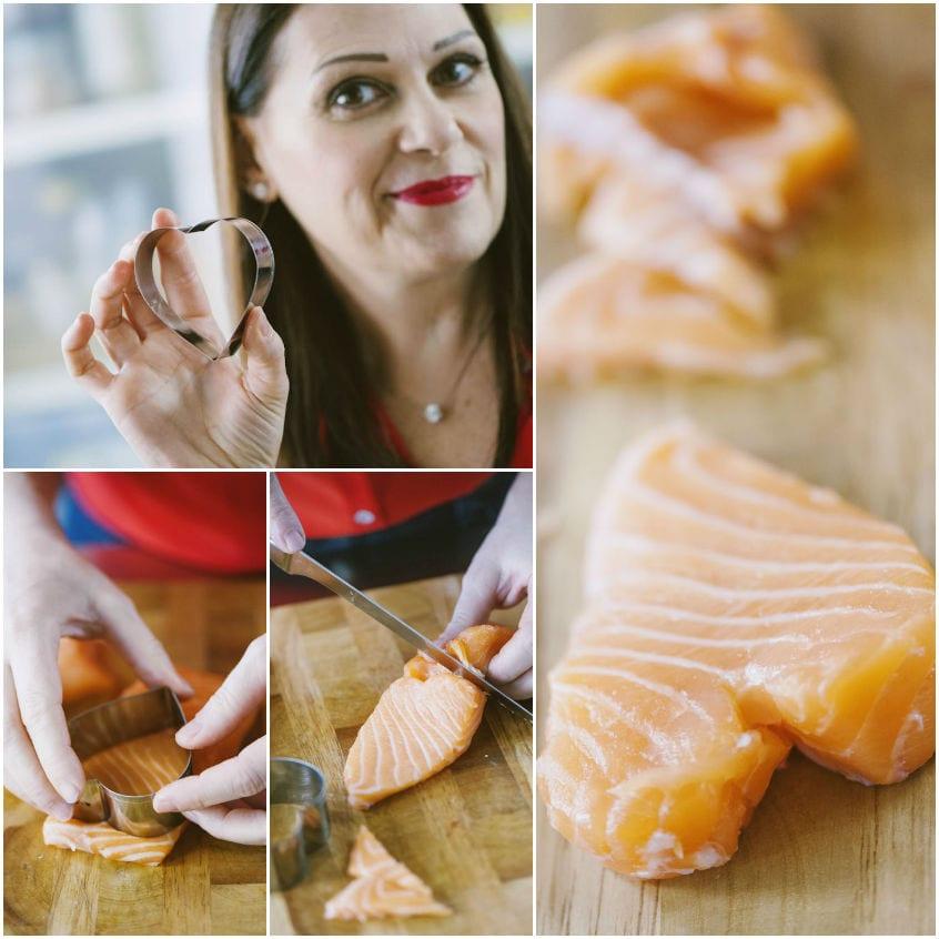 Cuori di salmone con cavolo rosso al balsamico e finocchietto