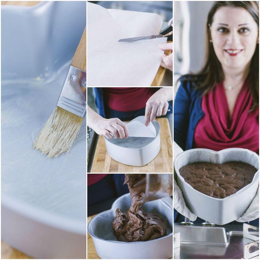 Torta cuore al cioccolato e lamponi