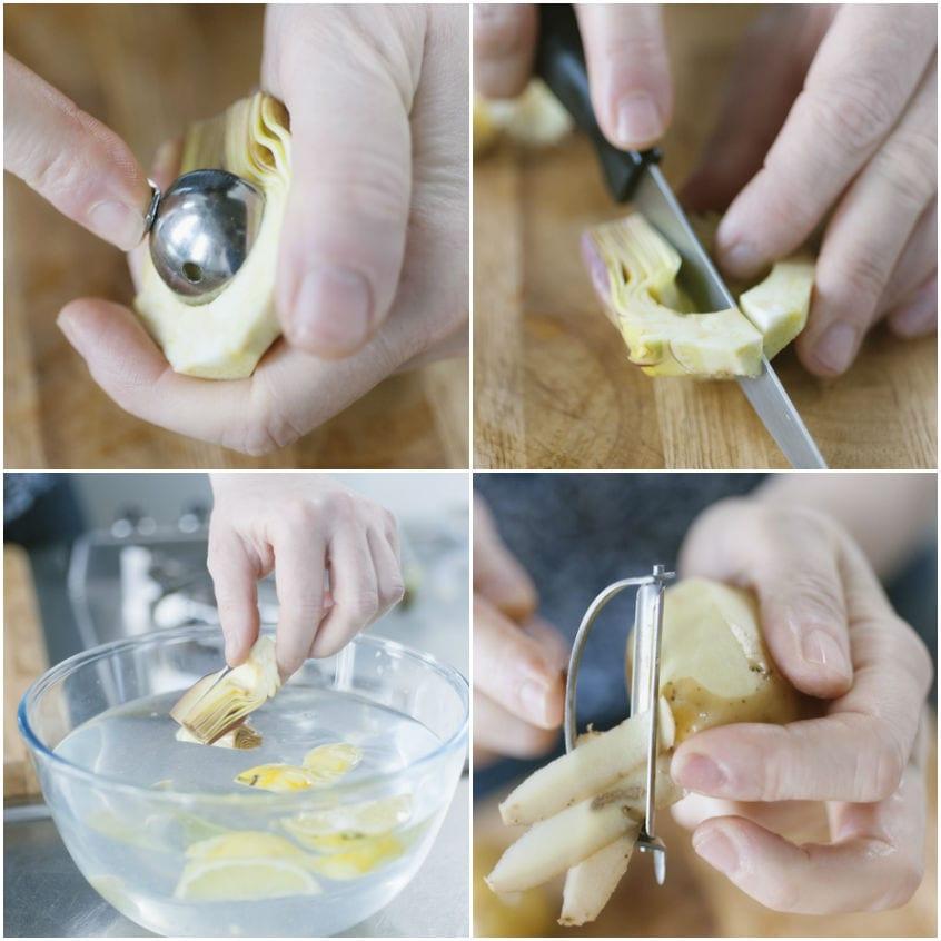 Conchiglioni con carciofi patate e piselli