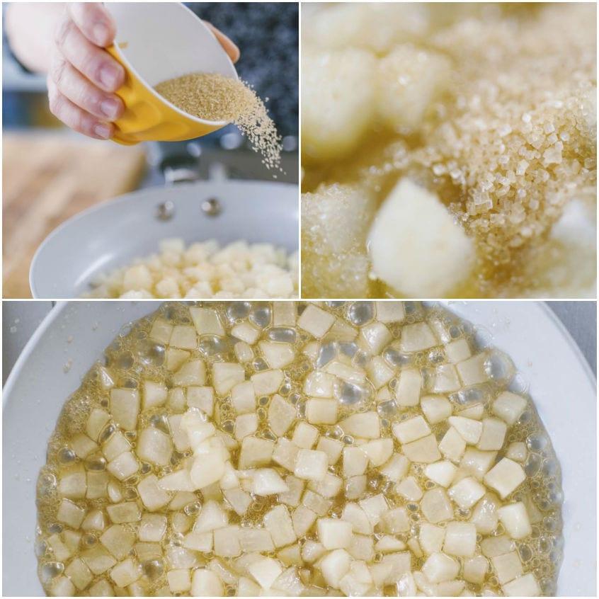 Crostatine con crema pasticciera salata e pere caramellate