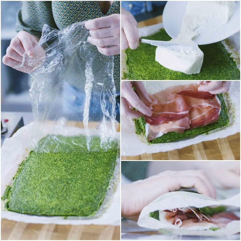 Rotolo di frittata verde con speck e stracchino