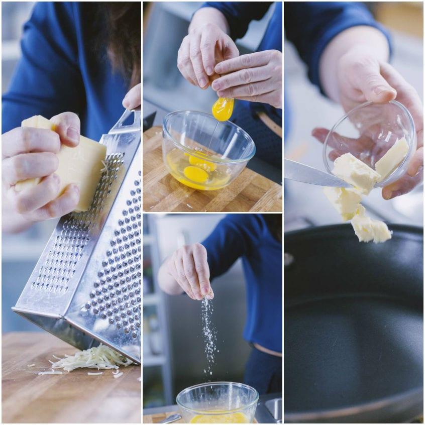 Omelette con emmental e prosciutto