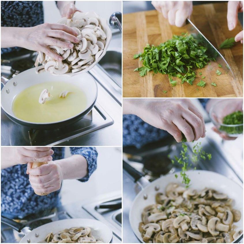 Tagliata di maiale con funghi e patate