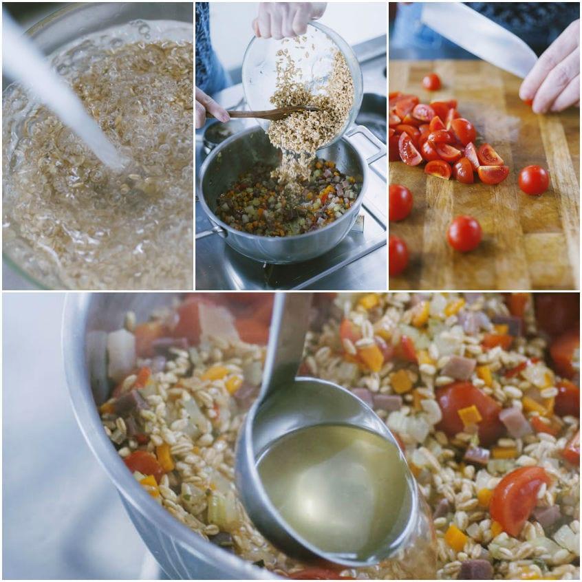 Zuppa di farro con grissini di sfoglia