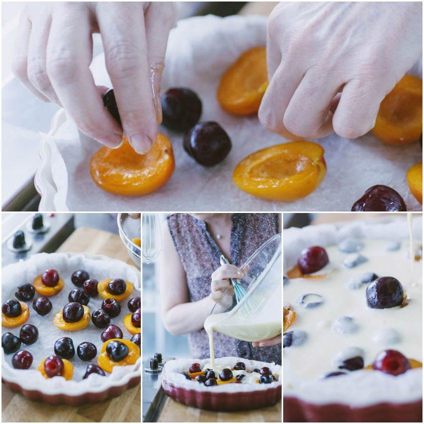 Clafoutis di albicocche e ciliegie