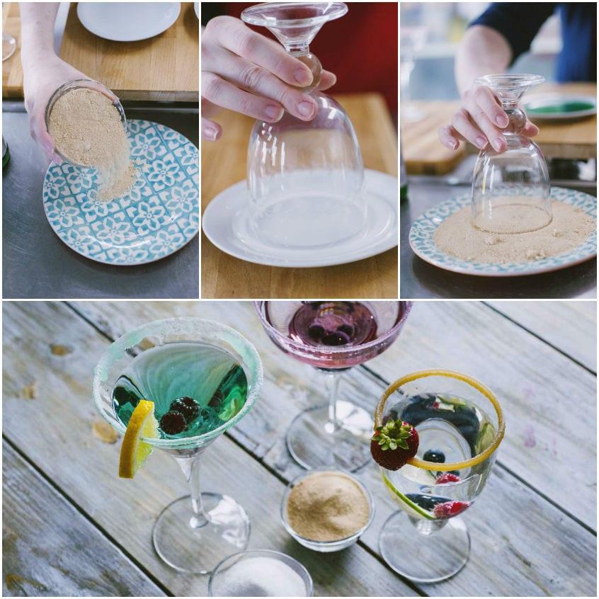 come decorare con lo zucchero i bordi dei bicchieri