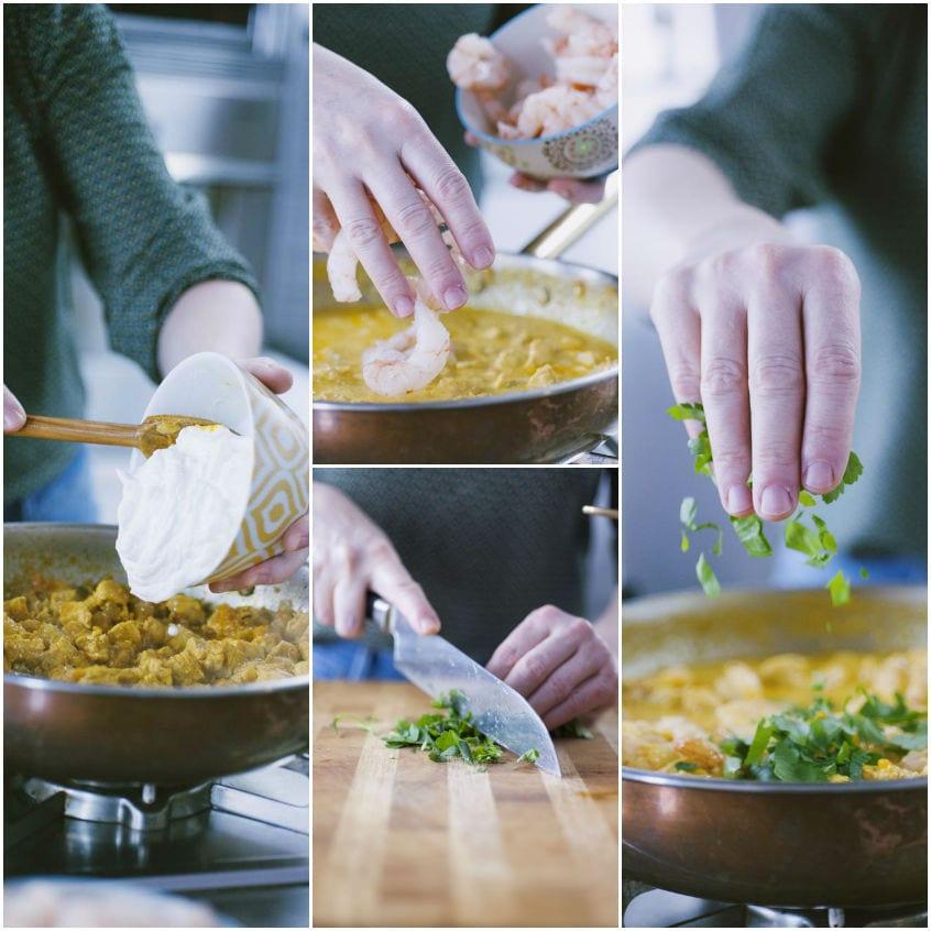 Pollo e gamberi al curry con riso pilaf