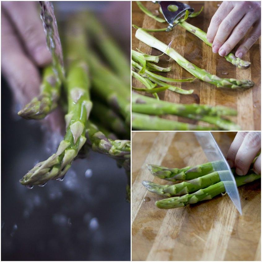 Vellutata di asparagi e spinaci con crema al caprino