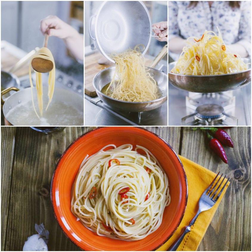 Saghetti aglio, olio e peperoncino