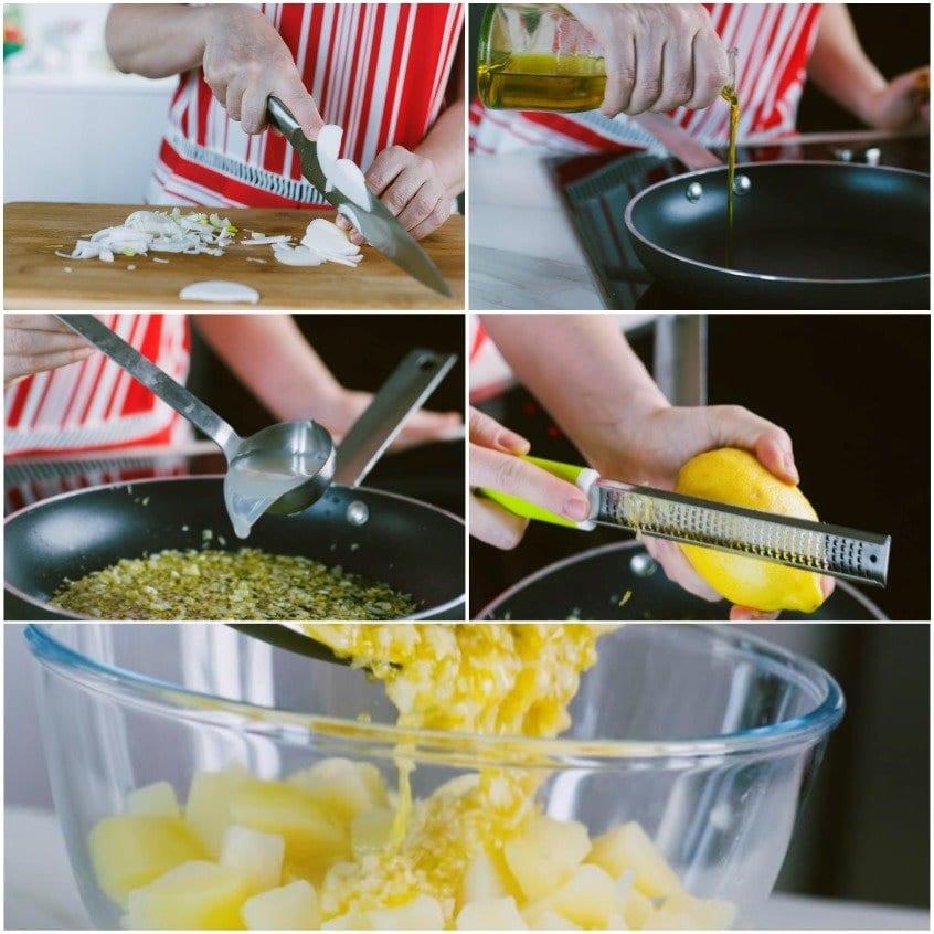 Bicchierini con crema di patate, guanciale e cozze fritte