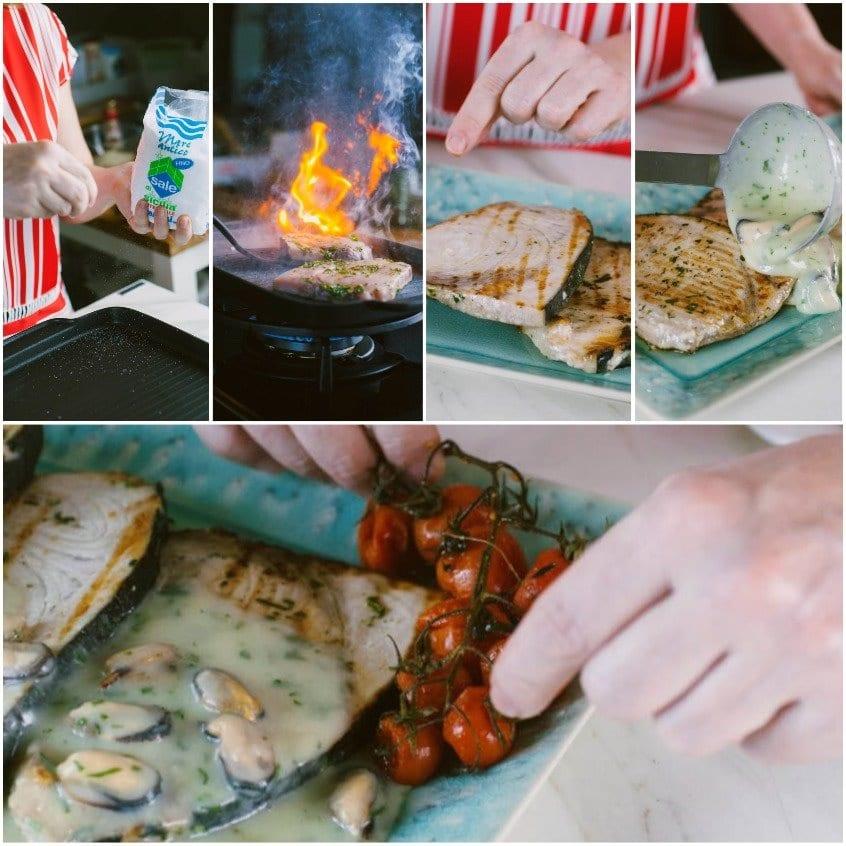 Pesce spada con crema di patate e cozze