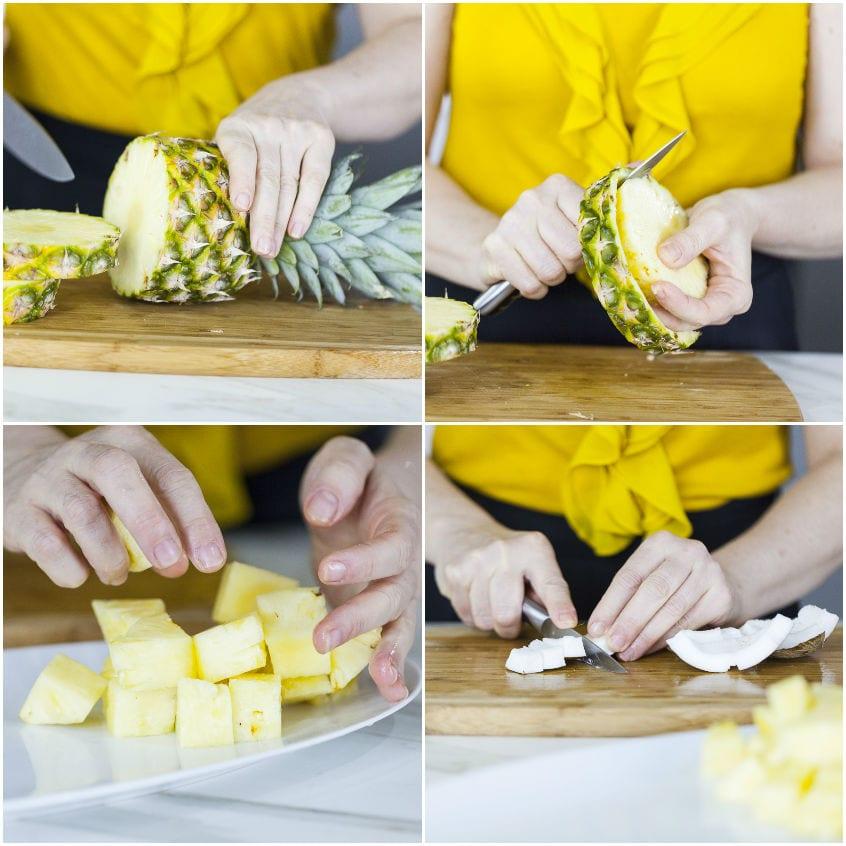 Succo con ananas, cocco, lime e menta fresca