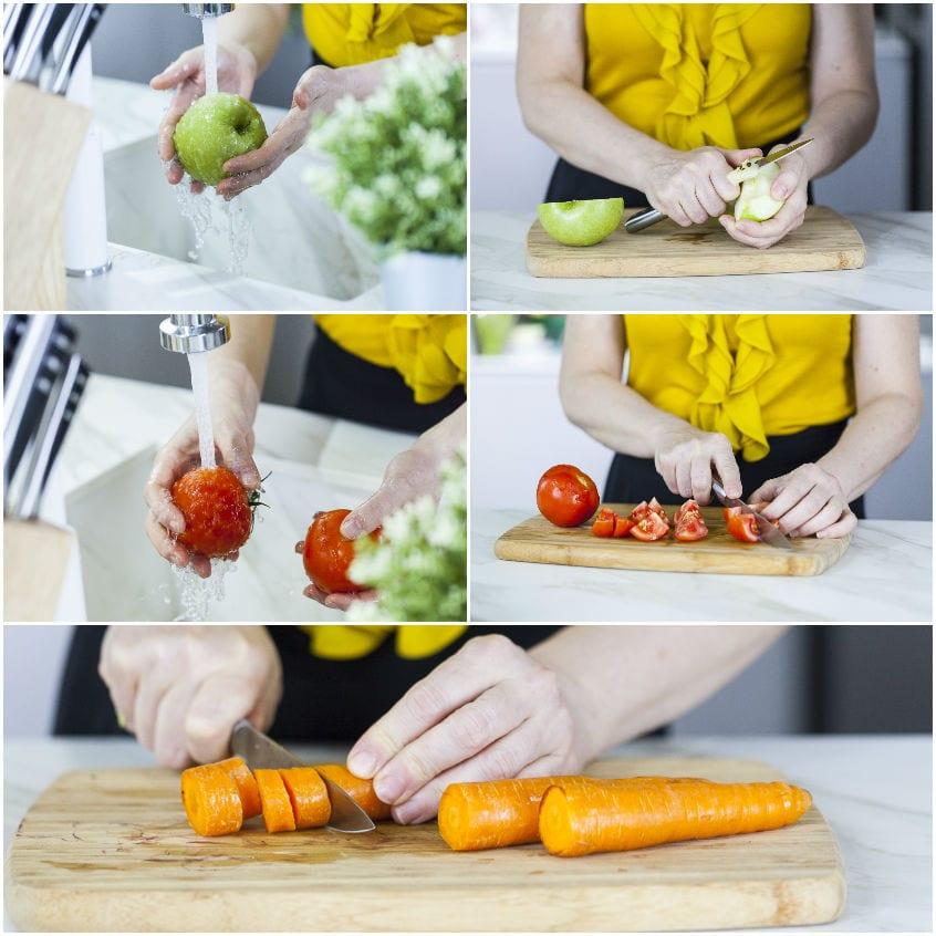 Succo di carota, pomodoro, mela e sedano