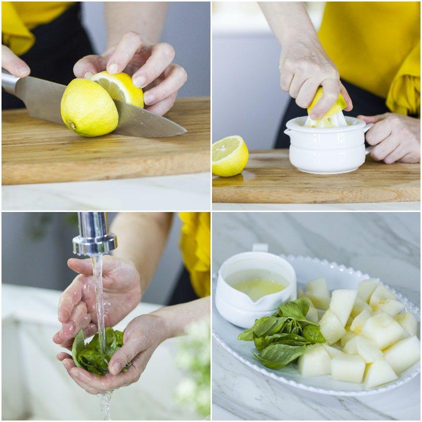 Succo con melone, basilico e limone