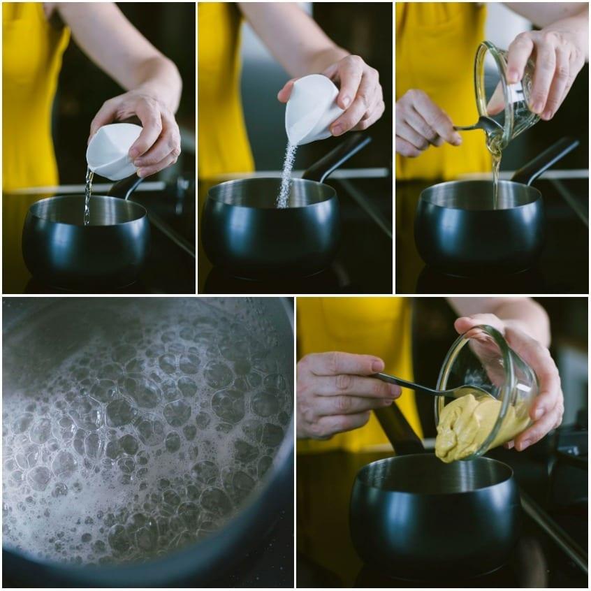 Gamberi fritti al cocco, con salsa di senape al miele