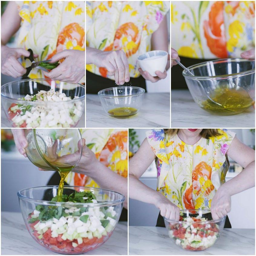 Insalata di anguria, feta e cetrioli