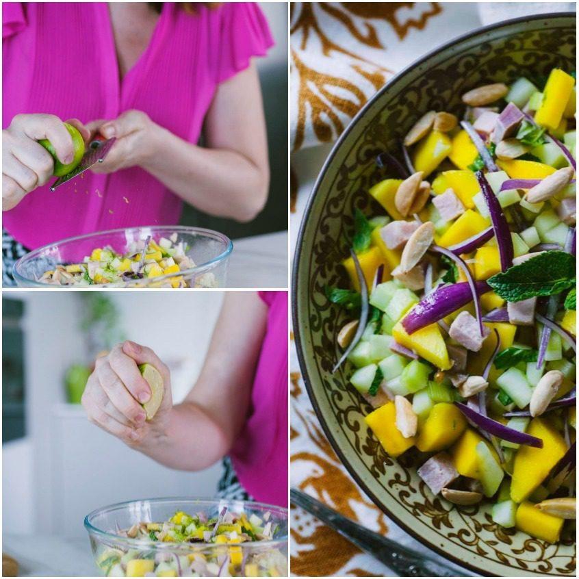Insalata di cetrioli, mango e prosciutto cotto affumicato