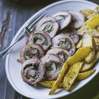 Rollè di pollo con castagne e bacon