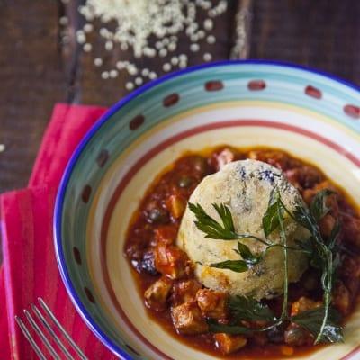 Mini timballo di couscous con tonno ammuttunato