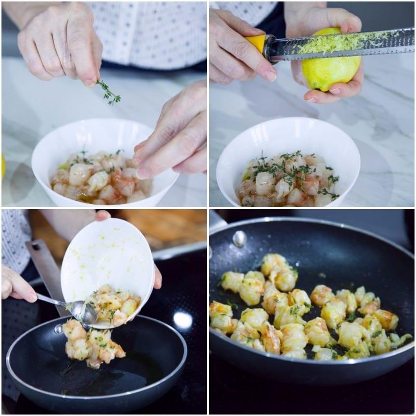 Zuppa di cereali e gamberi
