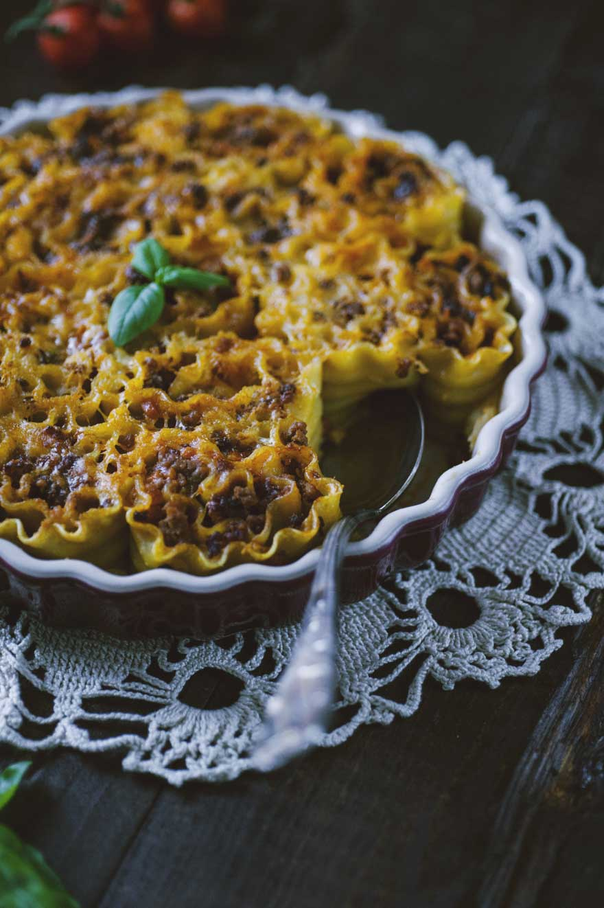 Roselline di lasagne, con besciamella e ragù