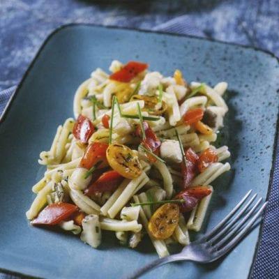 Caserecce senza glutine con peperoni e baccalà