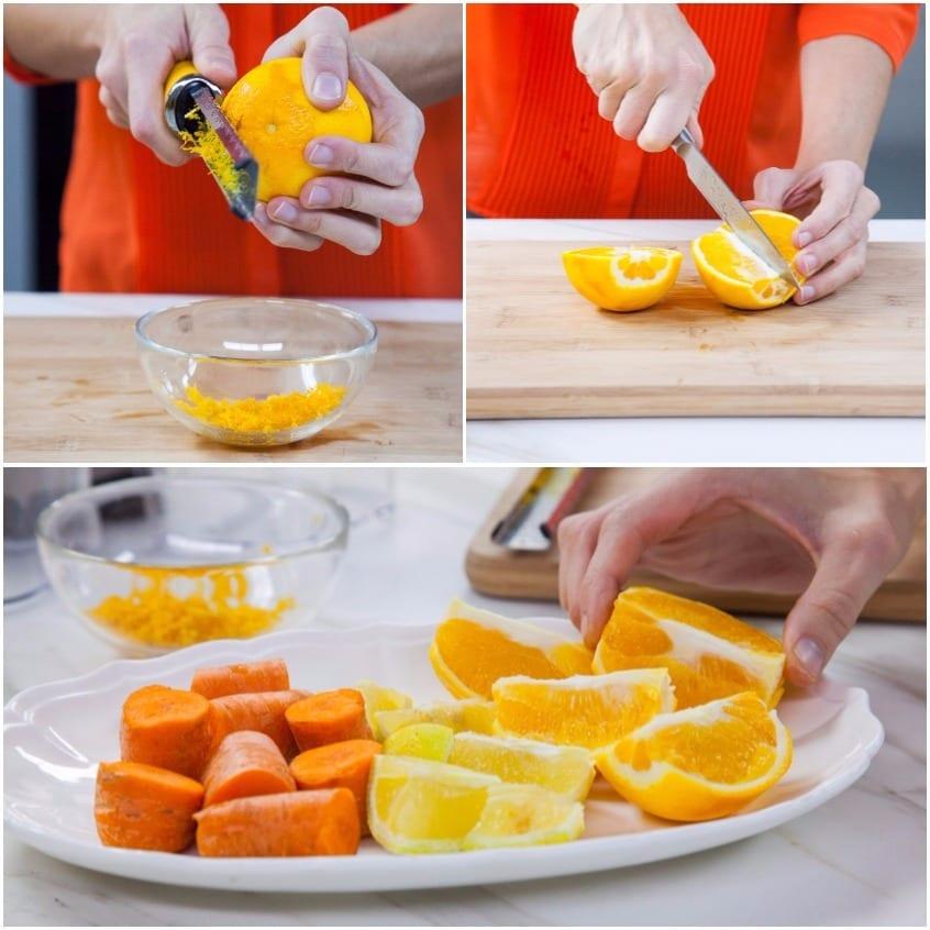succo arancia, carote e limone