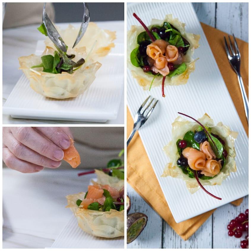 cestino con roselline di salmone