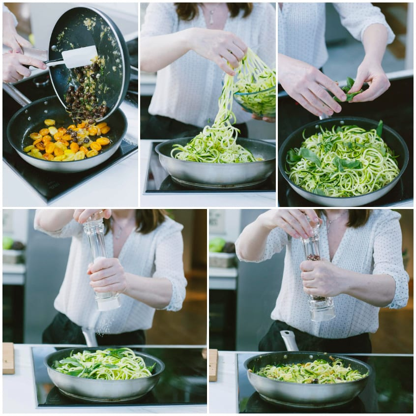 spaghetti di verdure con pomodorini e burrata