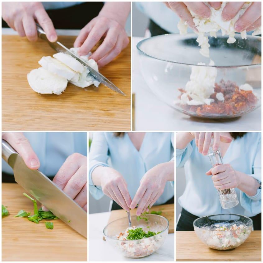 Involtini di melanzane, mozzarella e pomodori secchi