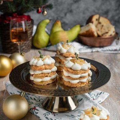 Millefoglie di panettone con gorgonzola e pere caramellate