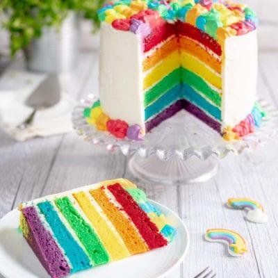 Rainbow cake in fetta che mostra i diversi strati colorati