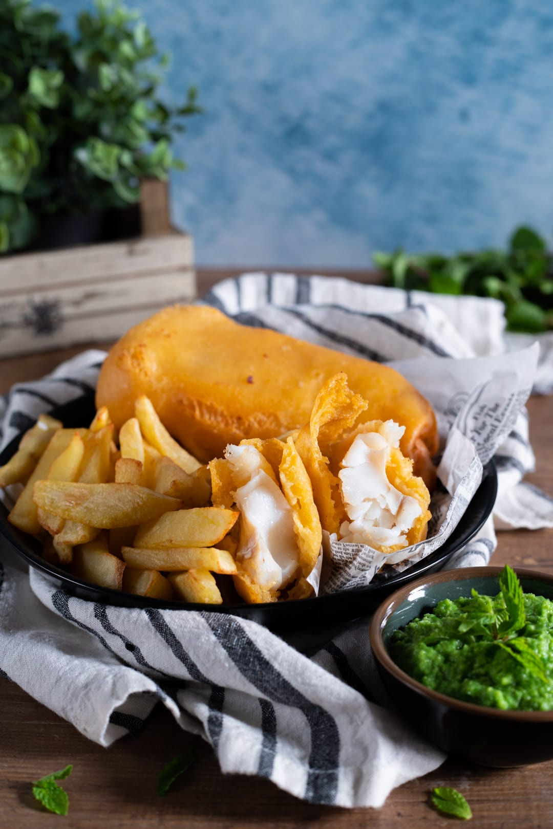 Fish and chips con mushy peas