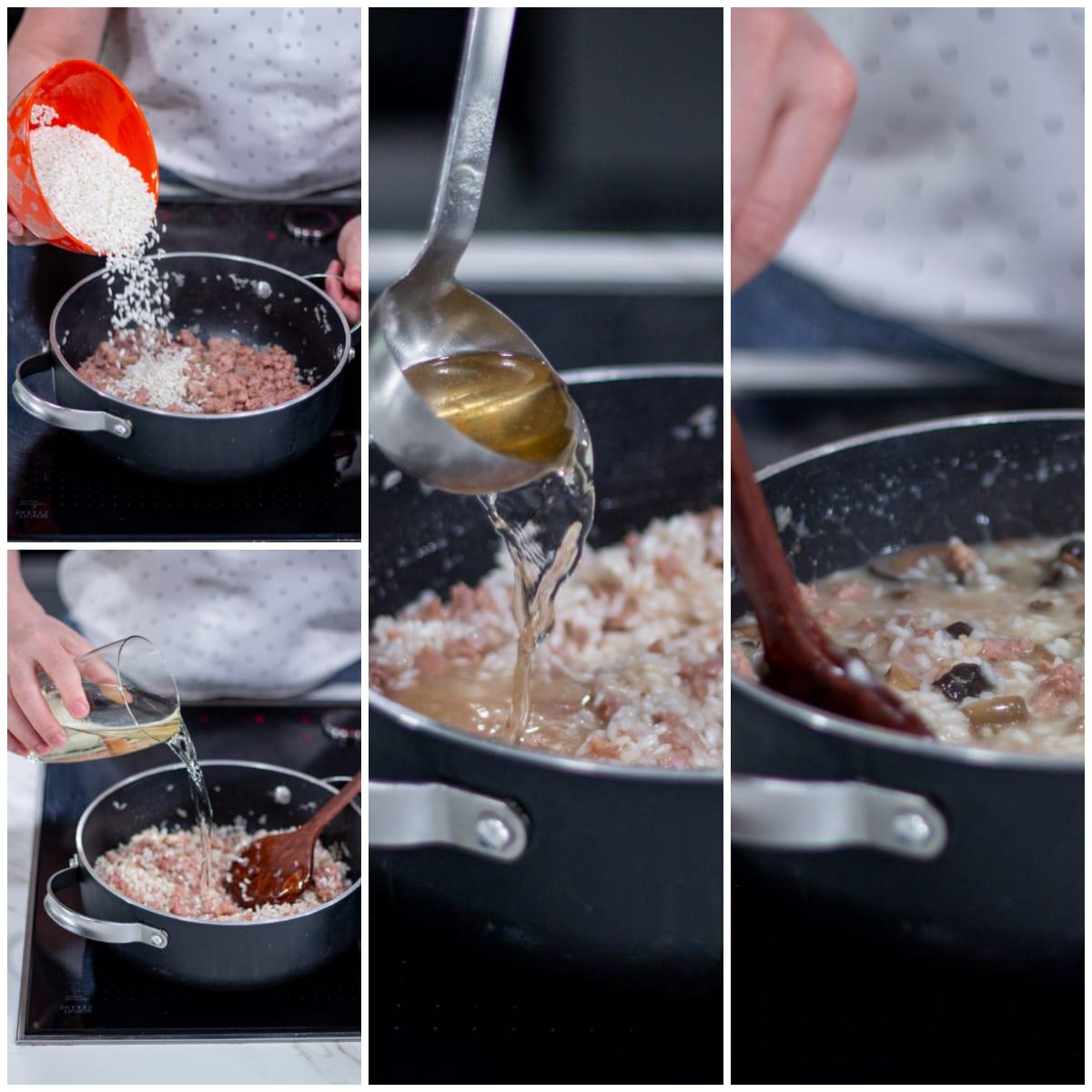 risotto funghi pioppini salsicia
