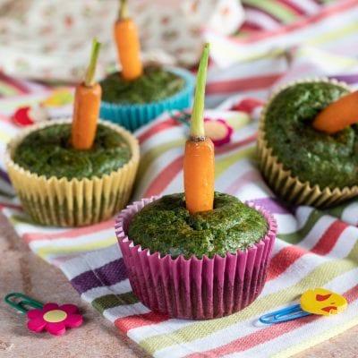Cupcake con spinaci e carotine