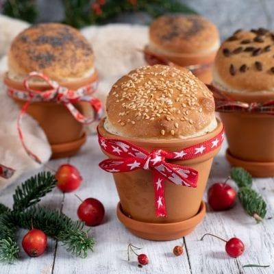 Panini nel vasetto segnaposto di Natale