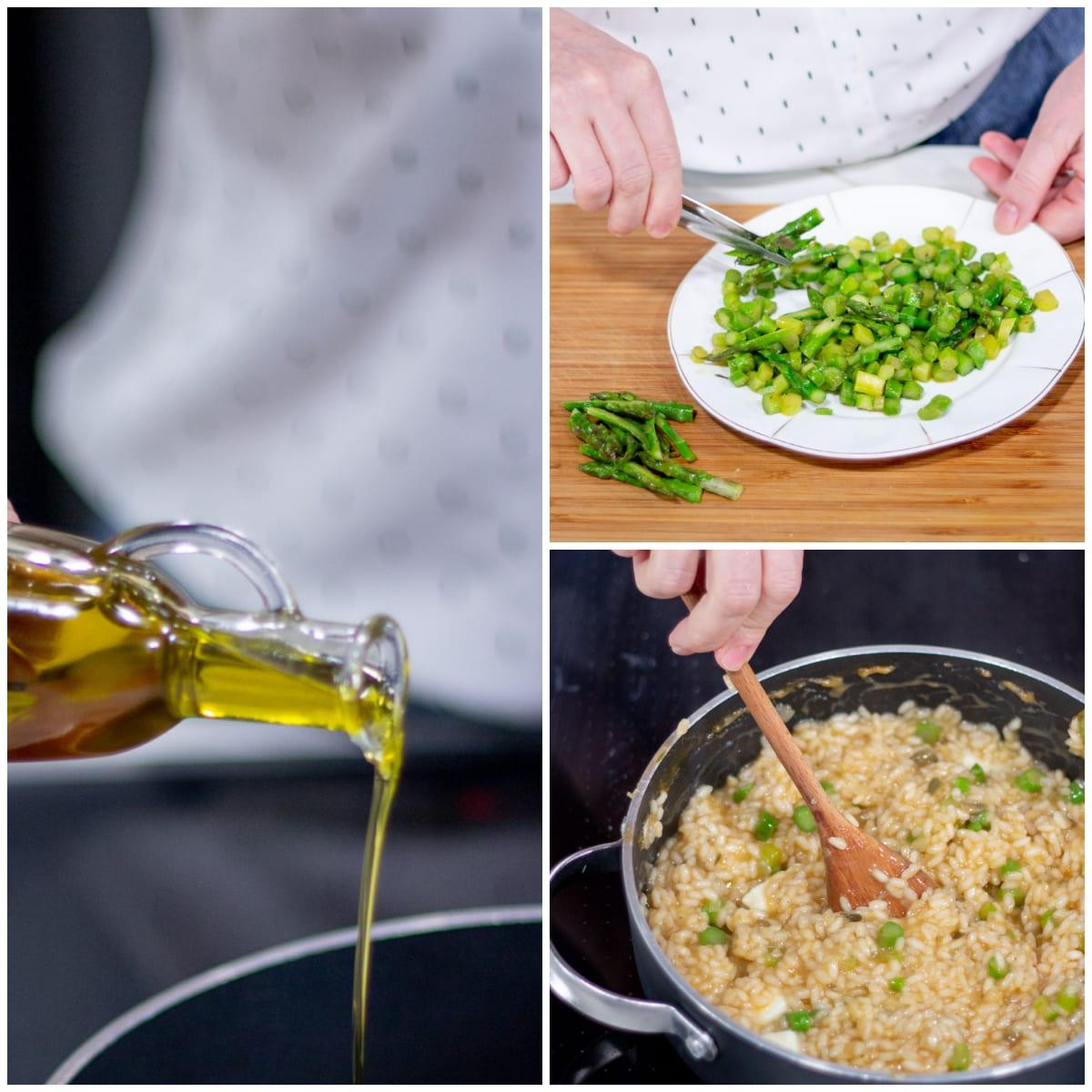 Risotto con scampi burrata e asparagi mantecatura