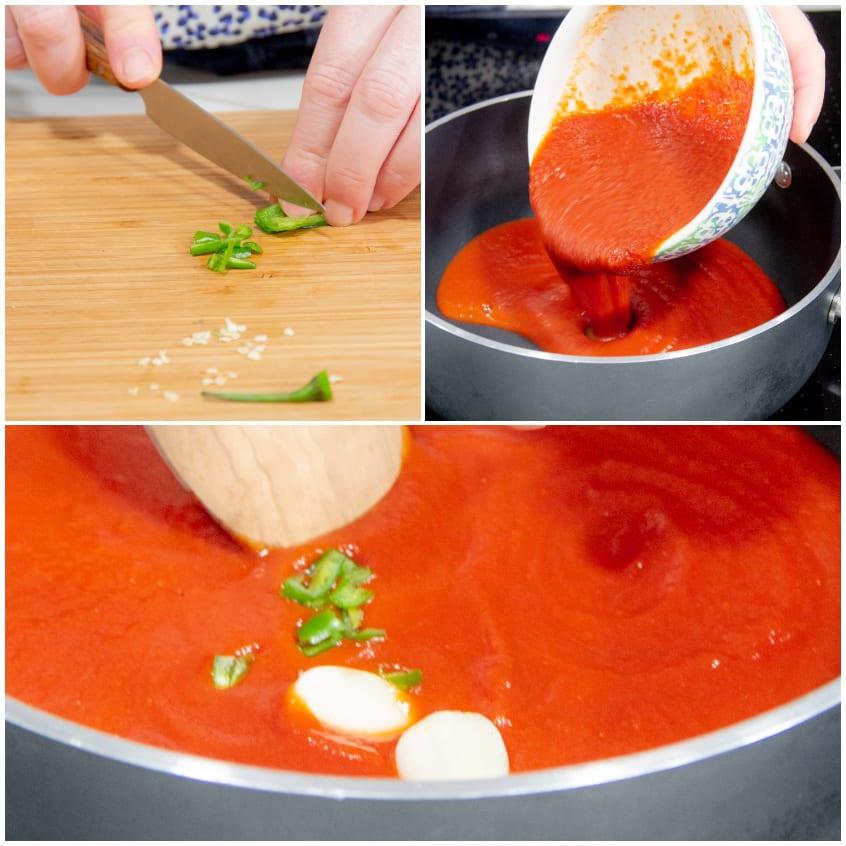 Spaghetti ai 3 pomodori preparazione