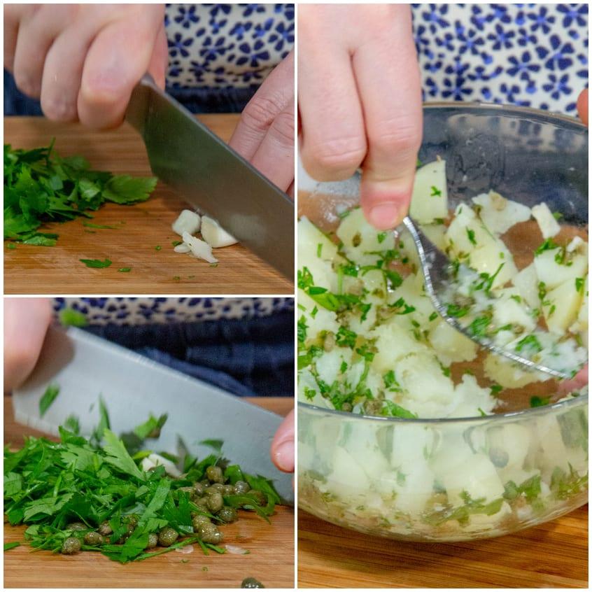 Tortini di alici con hummus alla menta