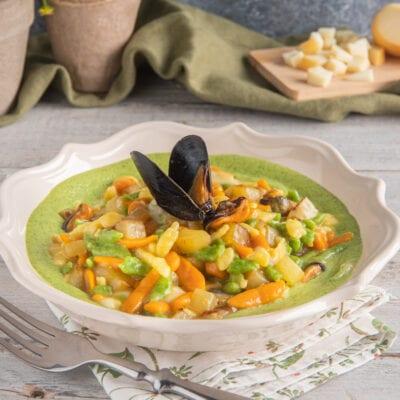piatto con spatzle tricolore alle zucchine