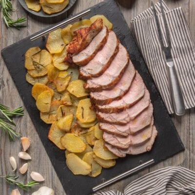 Lombata su piatto con patate